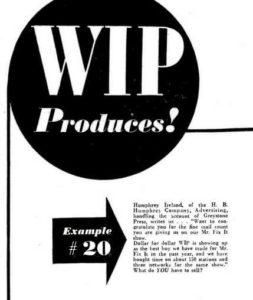 Humphrey Ireland endorses the media buy. (Broadcasting magazine, 1949.)