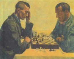 A. Paul Weber, Ernst Jünger and Friedrich Georg Jünger playing chess, 1935