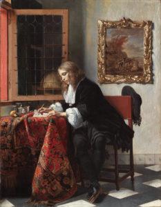 Gabriël Metsu, Man Writing a Letter, circa 1664-1666