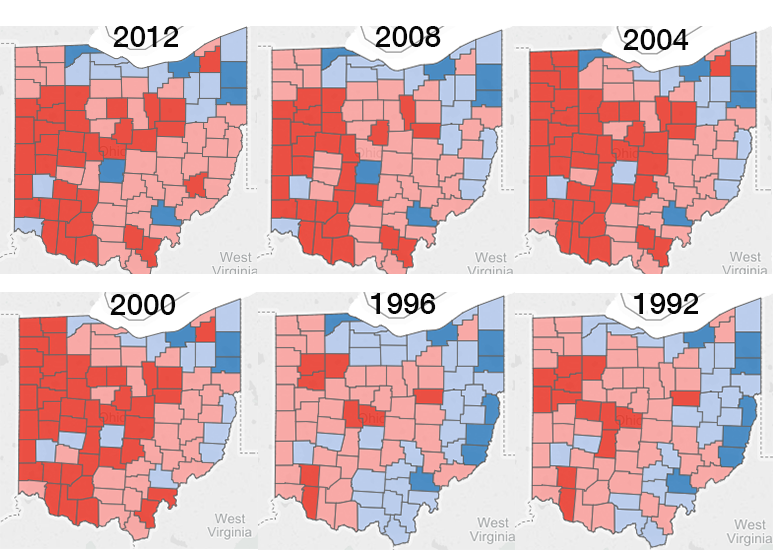 """Ohio election results, notice the consistent patterns with one region or another more solidly turning out for their candidate or not. Notice how most of the Connecticut reserve always votes differently than the most of the western, """"Quaker"""" region of Ohio as well as the Virginia Military District."""