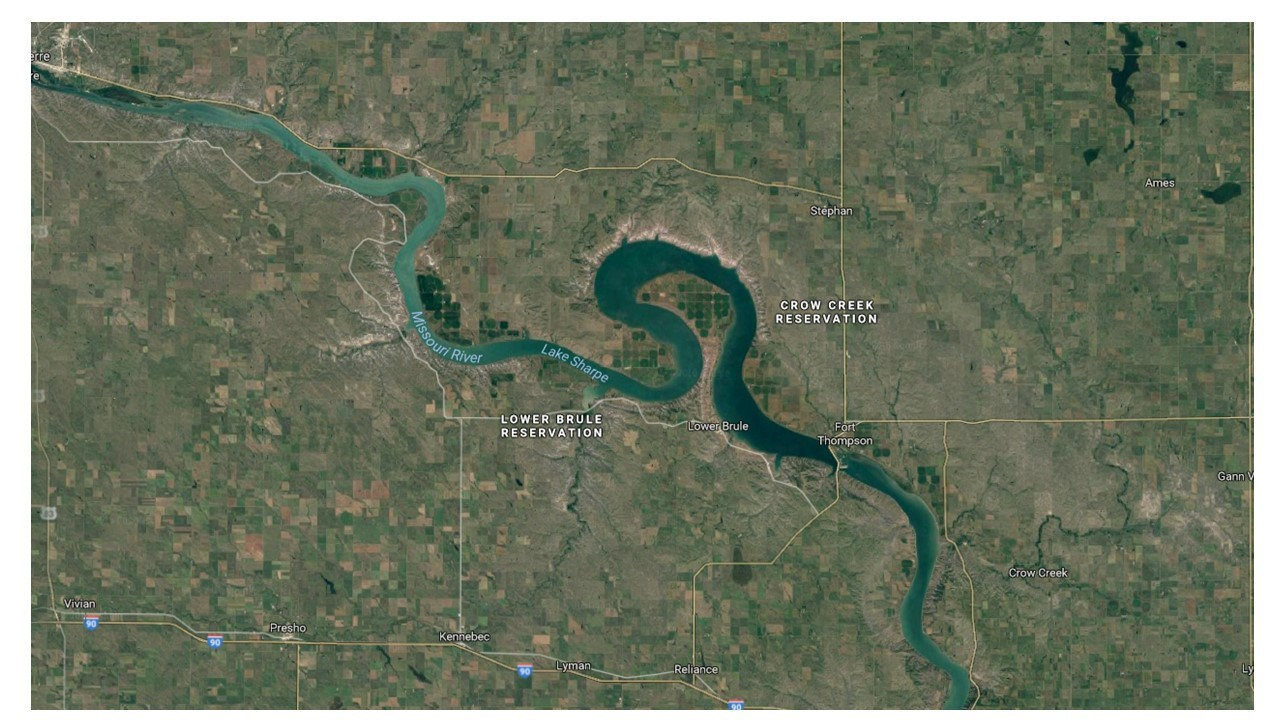 The Dakota Sioux's new homeland. It is away from large white settlements. While the reservation is out of the way, by no means is the area a desert. Pierre, South Dakota is a nice American town also along the banks of the Missouri River.