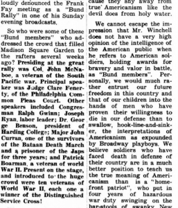 As you can see from the right-hand column, the Friends of Frank Fay rally was accused of being fascist even at the time.