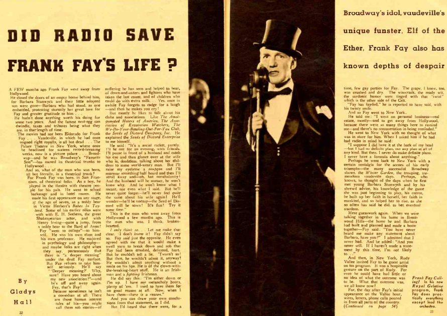 From the August 1936 issue of Radio Stars. After failing to break into Hollywood, Frank Fay remained in demand on radio.