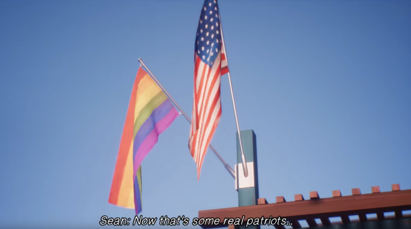 An American and a Pride flag fly side-by-side in Life is Strange 2