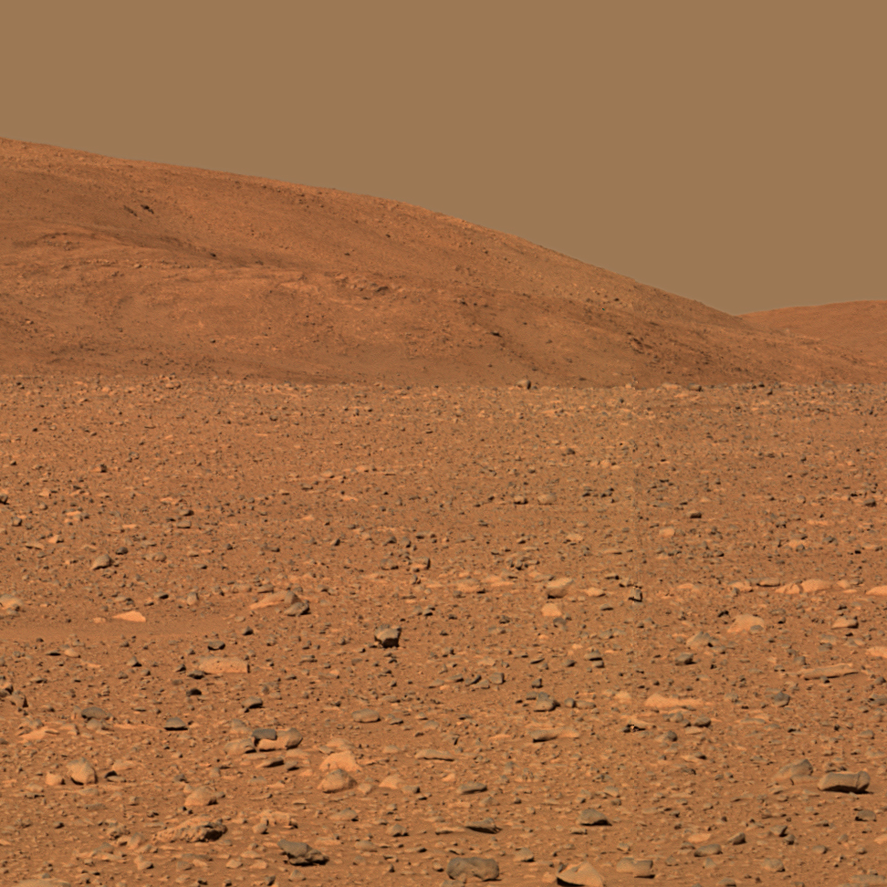 Red, rocky surface of Mars.