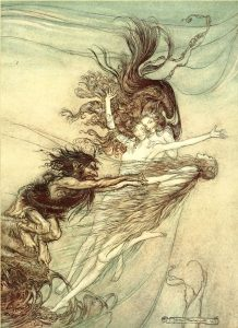 Arthur Rackham's painting of Alberich and the Rhine Maidens after Richard Wagner