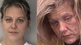 Mugshots of a woman before and after chronic meth abuse.