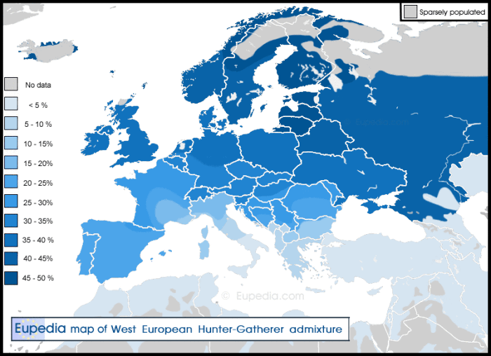 Map of average European hunter-gatherer DNA admixture in present-day Europe.