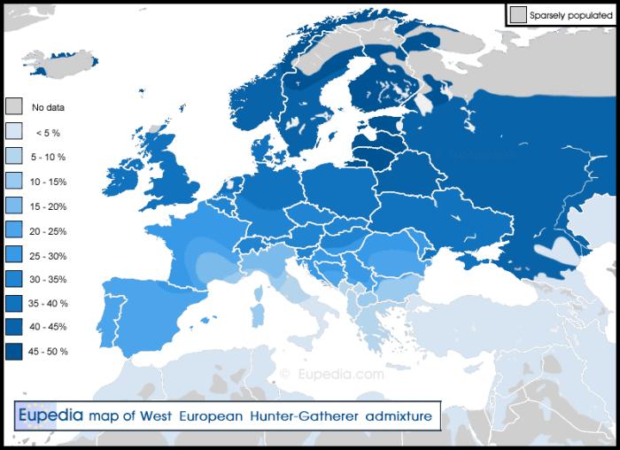 Map of average European hunter-gatherer DNA admixture in present-day Europe.
