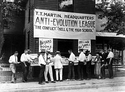 Protestors gather during the Scopes Monkey Trial.