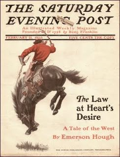 Cover of the Saturday Evening Post, depicting Wyeth's Bronco Buster, 1903.